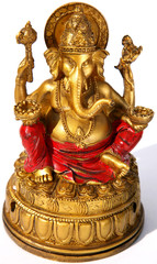 Lord Ganesh on white background in sunlight