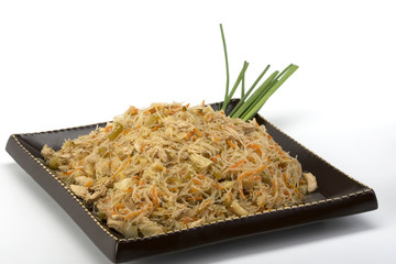 Pancit on a ceramic dish