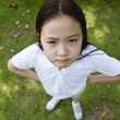 funny little asian girl, shot from above