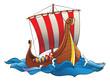 Drakkar (vikings battle  longship) in the ocean, vector - 32995648