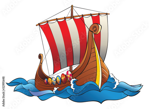 Drakkar (vikings battle  longship) in the ocean, vector