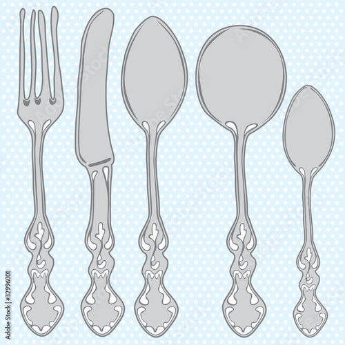 Hand drawn cutlery set.
