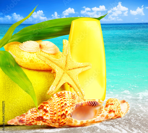 poster of Beach items over blue sea