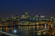 City of London, England, UK, over River Thames, at nightfall