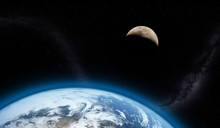 Erde und Mond 3d