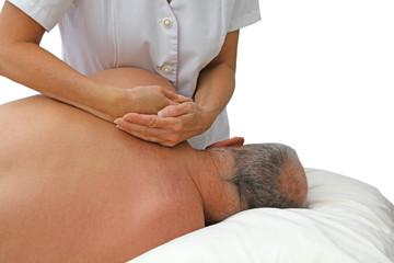 Sports Massage Therapist lifting Scapula