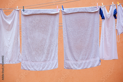 White laundry hanging to dry