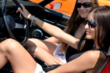 girls in sport car