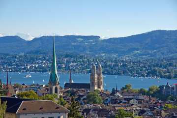 Zurich with the snowcapped alps in the back