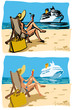 Summer, girl on a beach and cruiser ship