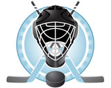 Emblem with goaltender helmet, hockey sticks and puck