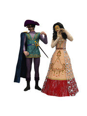 Rendered imaged of couple in Venetian masks and period costume