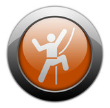 "Orange Metallic Orb Button ""Rock Climbing"""