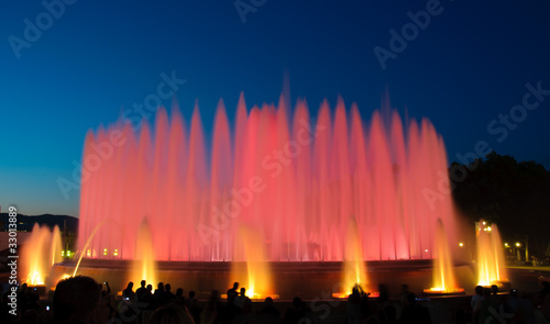 Montjuic magic fountain in Barcelona