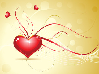 abstract red shiny heart on golden background