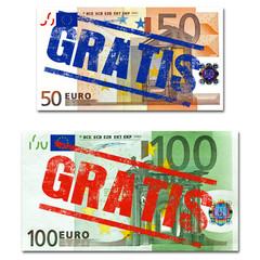 GRATIS stempel, 50 eur + 100 eur