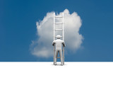 man climbs the ladder of success and a virtual career