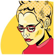 Pop Art Femme livre de style bande dessinée avec un point