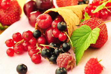 Waffeln mit Obst