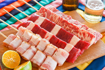 Espeto de carne para churrasco
