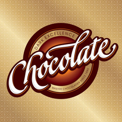 chocolate packaging design, hand lettering (vector)