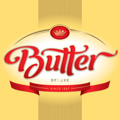 butter packaging design, hand lettering (vector)