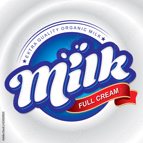 milk packaging design, hand lettering (vector)