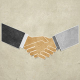 shaking hands recycled paper craft poster