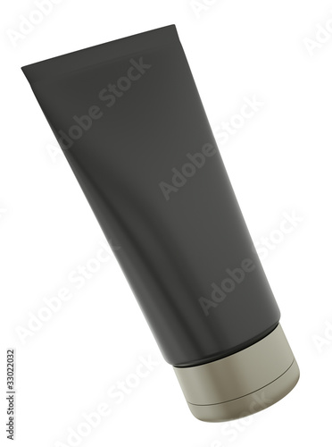 Blank black tube on white background. 3D render.
