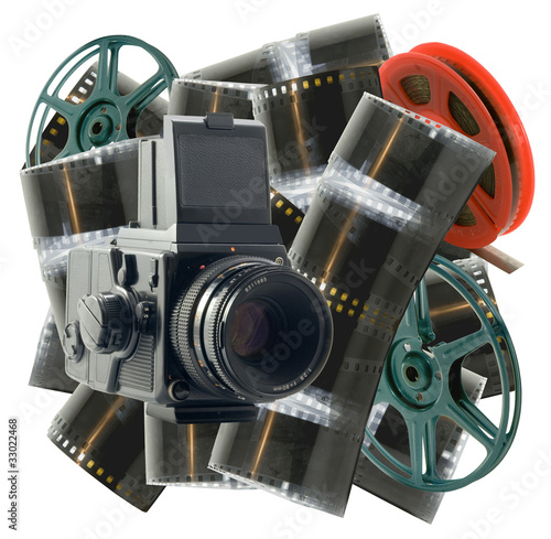 vintage camera with films and wheels on a white background