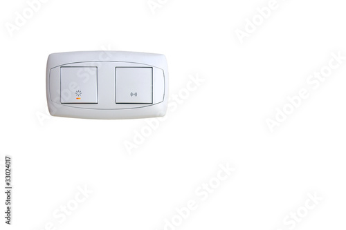 Light and doorbell wall switch isolated on white - 33024017