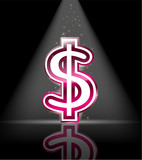 pink glossy dollar sign with spot light and little star