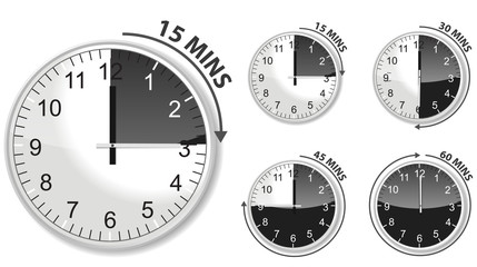 set of black timer 15 30 45 and 60 minutes