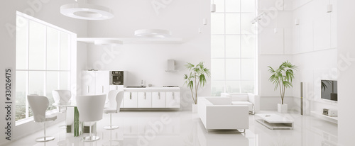 Modern weiss apartment interior panorama 3d render