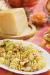 Italian pasta with chicken meat