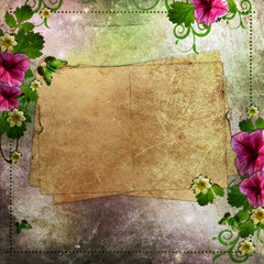 Grunge congratulation card with flowers