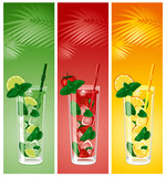 Refreshing mojito cocktails