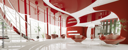 Modern rot weiss apartment interior panorama 3d render