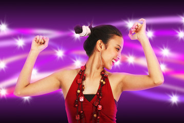 Young woman Dancing with Abstract Purple and Stars Background