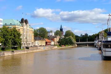 View down the Aura River in Turku, Finland