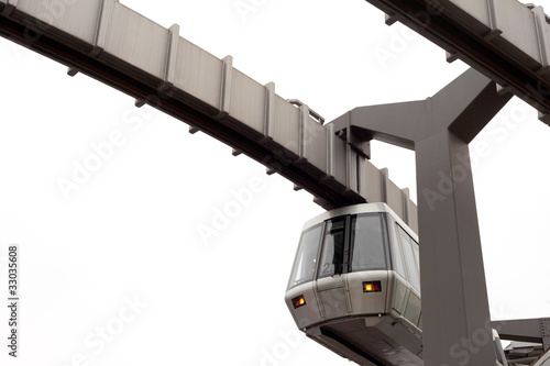 Skytrain and its elevated guideway on white