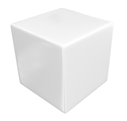 3d white cube isolated