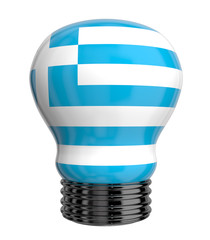 3d lamp with Greece flag isolated
