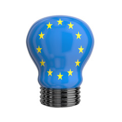 3d lamp with Europe flag isolated