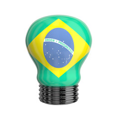 3d lamp with Brasilian flag isolated