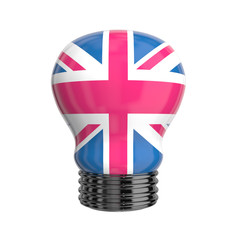 3d lamp with Great Britain flag isolated
