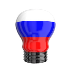 3d lamp with Russia flag isolated