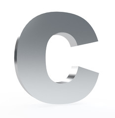 3d letter 'C' isolated