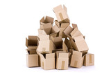 Pile of open cardboard boxes on white background