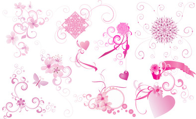 vector set of various pink design elements